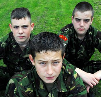 Army cadets Aaron Moore (13), Liam Dugan (14) and Daniel Sturrock (15)