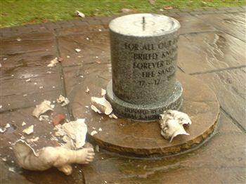Baby memorial vandal