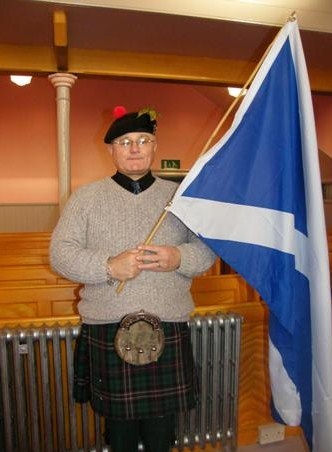 James Blair with banned Saltire flag