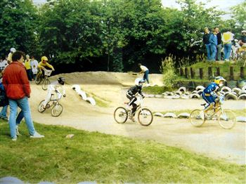 Chris Hoy in junoir BMX action - clearly in front