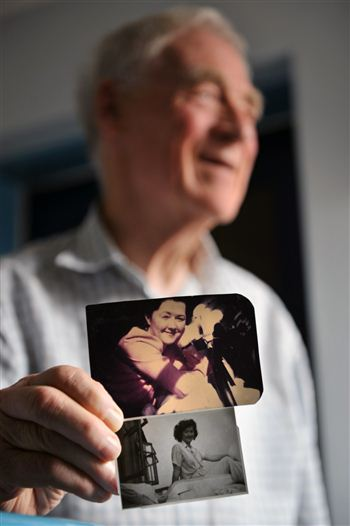 Ray with photos of Kathleen from the 1950s