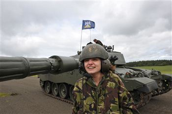 Reporter Cara Sulieman with the Challenger 2