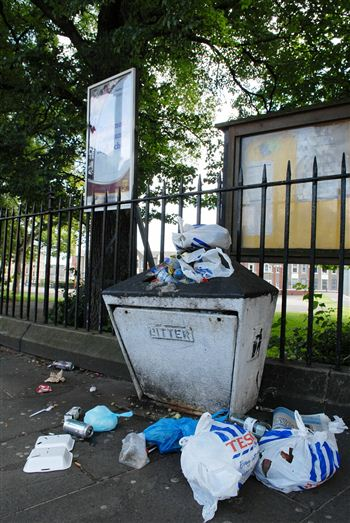 Uncollected refuse on Edinburgh's streets
