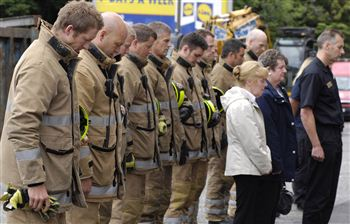 Firefighters pay their respects to colleague Ewan Williamson