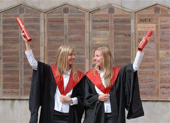 happy twins Agnieszka (left) and Katarzyna (right) Cynert