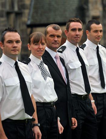 Left to right P.C. James Welsh, P.C. Pamela Young, CID Douglas Moran,  P.C. Allan Herbert and P.C. Paul Owenson.