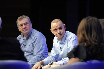 Professor David Wilson (left) and Evan Davis (right) at the debate
