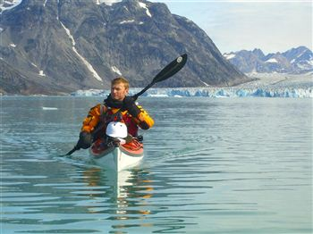 Richard Smith in his kayak