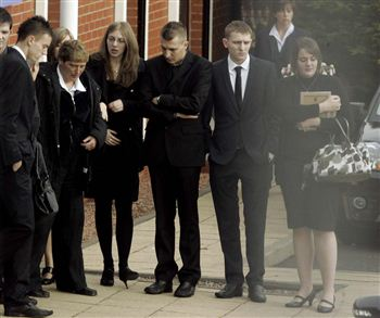 The children of Carol Jarvis outside the funeral parlour