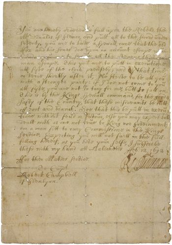 Signed order for the Massacre of Glencoe