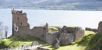 Urquhart Castle on the banks of Loch Ness