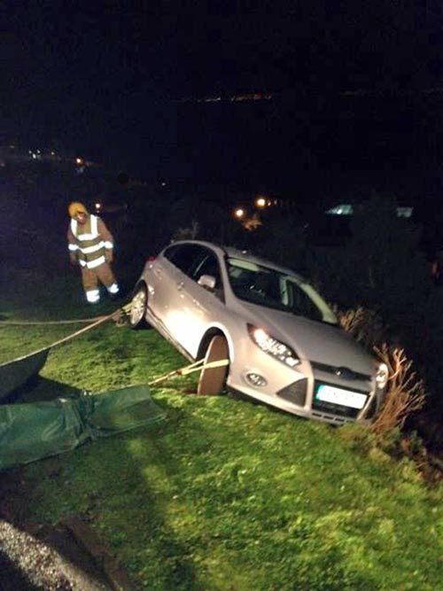 The silver Ford Focus that was in danger of plummeting into caravans in the middle of the night