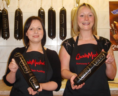 Rona Macdonald and Shona Macleod show off their unique black pudding