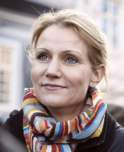 "The real Statsminister, Helle Thorning-Schmidt, who is controversially said to bear an ""uncanny resemblance"" to Nyborg."