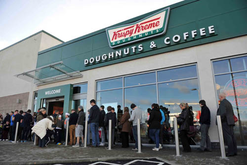 Even on day two, doughnut devotees queued for at least 30 minutes
