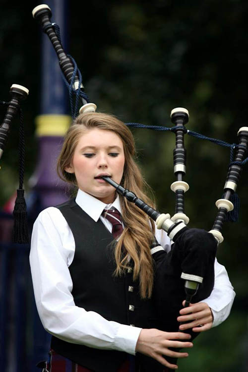 Pipe Major Clare Boothman is one of the girls breaking into a traditionally male-dominated world