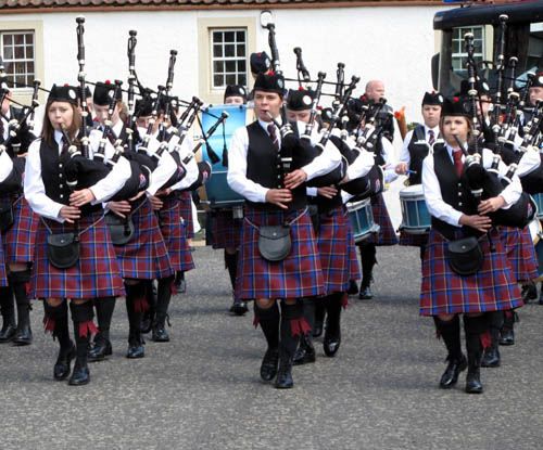 Four out of every five pipers in the band are girls