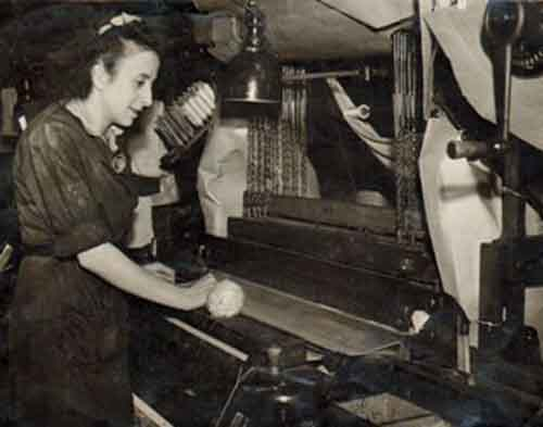 Barbara at work in the Fife textiles firm.