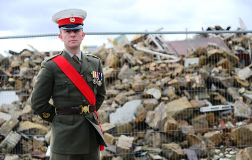 Royal Marine bandsman Warrant Officer Ross Hunt cannot believe his home was simply knocked down