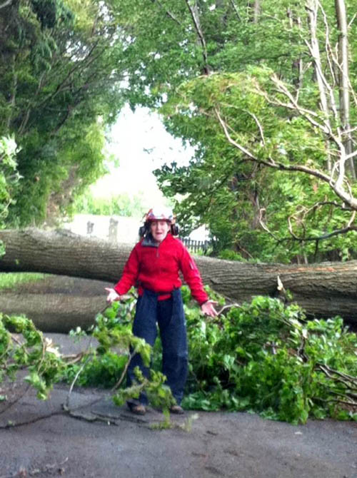 Mrs Adams using a chainsaw to clear trees near her home.