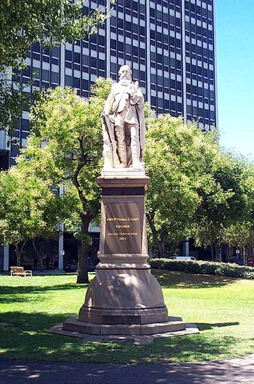 Stuart's statue in Adelaide, Australia shows how much he is celebrated south of the equator