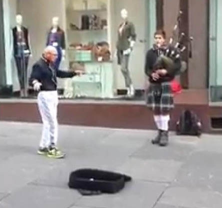 The OAP managed to perform an unusual techno style dance to the bagpipes.