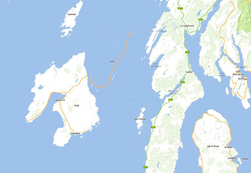 The Isle of Jura is missing on Google's map