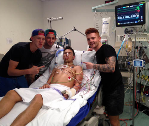 Sean with his pals after awaking from a coma at a hospital in Darwin