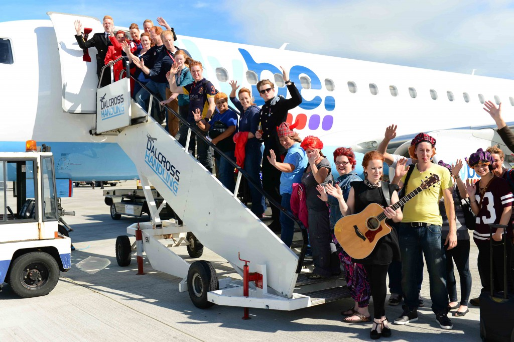 Proud Scottish gingers set an unofficial world record as they took to the skies in the first ever red-head only flight.