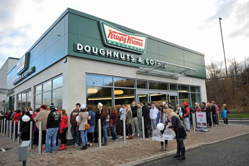 Queues for doughnuts, some containing up to 400 calories each, were out of the door at the February opening