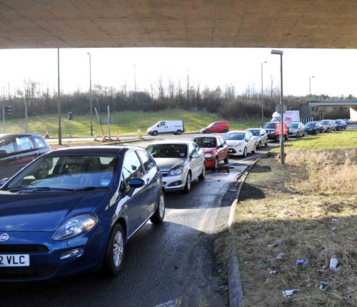 The city bypass and a section of the M8 was gridlocked as Scots clamoured for doughnuts