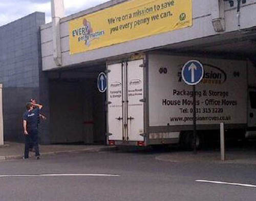 Stuck fast: the box van had to have its tyres deflated during the 45-minute operation to free the vehicle