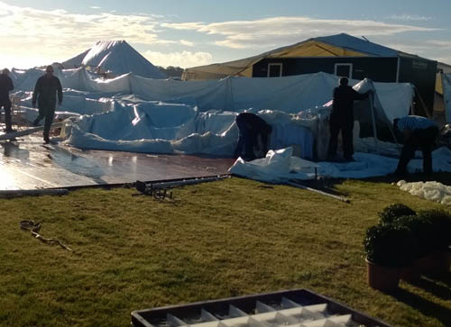 The 100ft by 40ft marquee collapsed as a result of high winds - with hours to go before  the reception