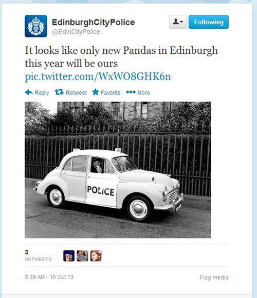 The police joke was tweeted almost 40 times before red-faced bosses ordered its deletion