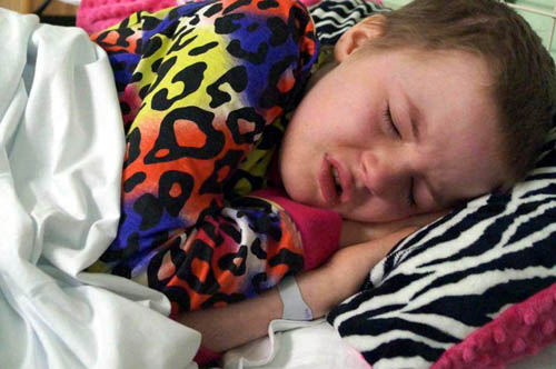 Earlier in the week her parents had posted picture of Mackenzie looking a little ill after starting her treatment.