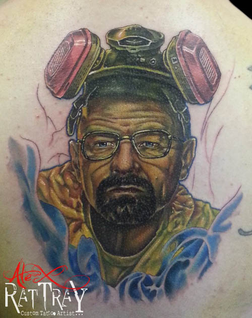 The one tattoo that weighs on Alex's mind is Walt from Breaking Bad which remains to be unfinished