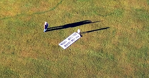 The sign was placed in a field near Ormiston for Mary to see as she flew over