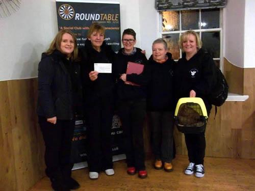Founders (L-R) Linda Grier, Jackie Balfour, Jean Dow, Kim Atherton, Fiona McGravie, holding Maisie Goodchicken