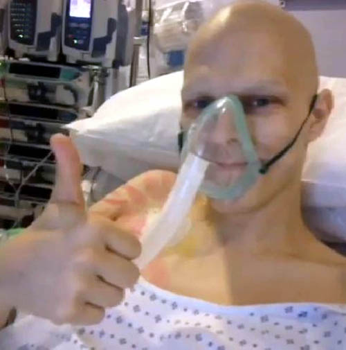 Thumbs up, hours after op