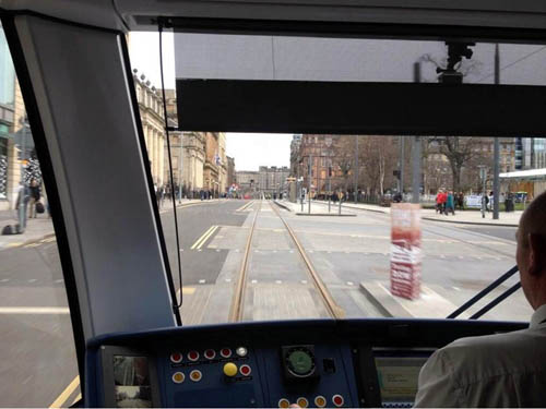 Tom Norris, trams boss, shared a snap from inside the moving cab