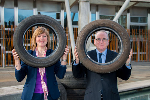 Green MSP Alison Johnstone with Jerry Stewart, Director of Eagle Couriers