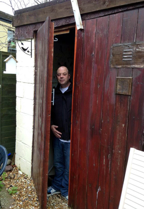 Vince would often eat his meals and receive visits from concerned friends in the windowless shed