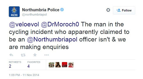 Northumbria Police confirmed the man was not serving with their force