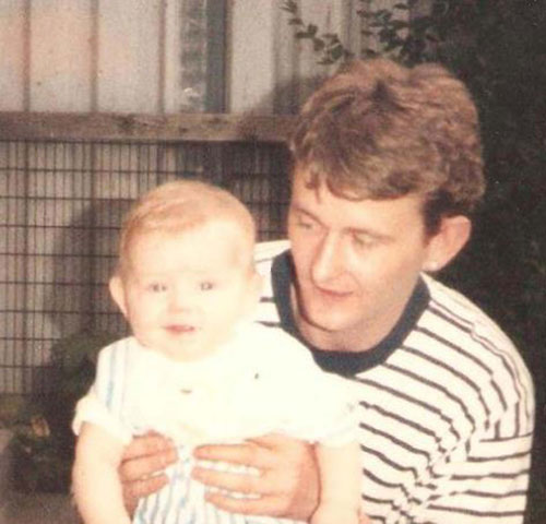 Tam Morrison with Jamie as a baby