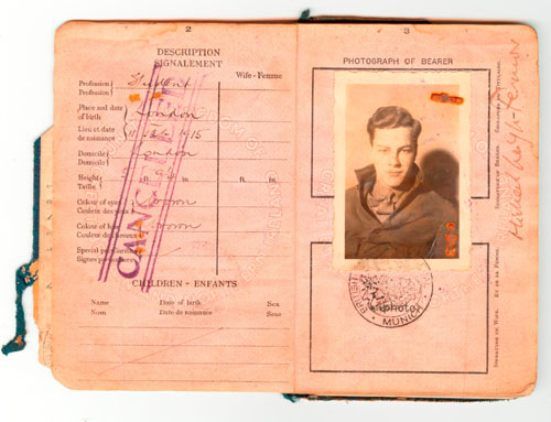 Leigh Fermor's passport from his trek across Europe