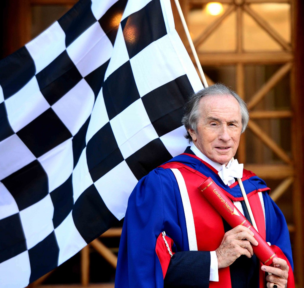 Sir Jackie Stewart recieved an honorary degree from Edinburgh Napier University at Usher Hall in Edinburgh last year