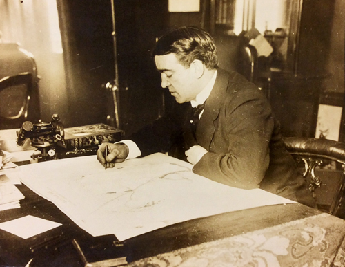 Sir Ernest Shackleton at his desk