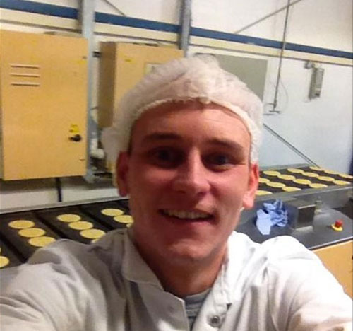 Dave McPake working hard at Campbells Shortbread factory