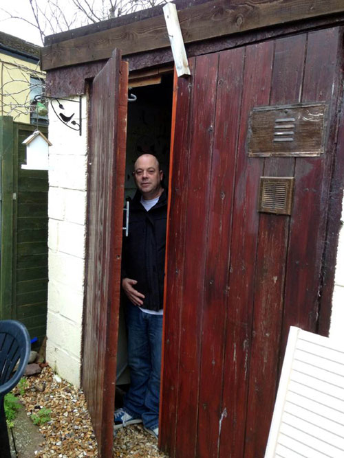 Vince wouold often eat his meals and receive visits from concerned friends in the windowless shed