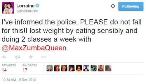 Lorraine Tweet - calling the police